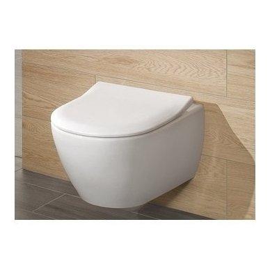 WC rėmo Viega, juodo mygtuko Visign 10 ir klozeto Villeroy $ Boch Subway 2.0 Direct Flush su plonu lėtaeigiu dangčiu komplektas 3